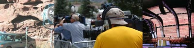 Camera crews and sound men (sound people) on an ENG / News assignment in Eagle Colorado. News coverage on Kobe Bryant.