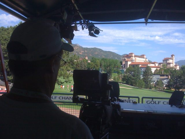 Setting up on location for the Golf Channel, USA Women's Open in Colorado Springs CO.