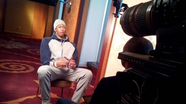 A interview for the EPSN program 30/30 - Thirty for Thirty. (Documentary style sports programming).