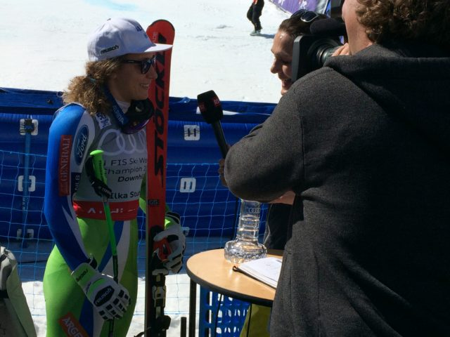 Lindsey Vonn interview, location sound recordist interview, 2017 World Cup Finals Skiing in Aspen CO